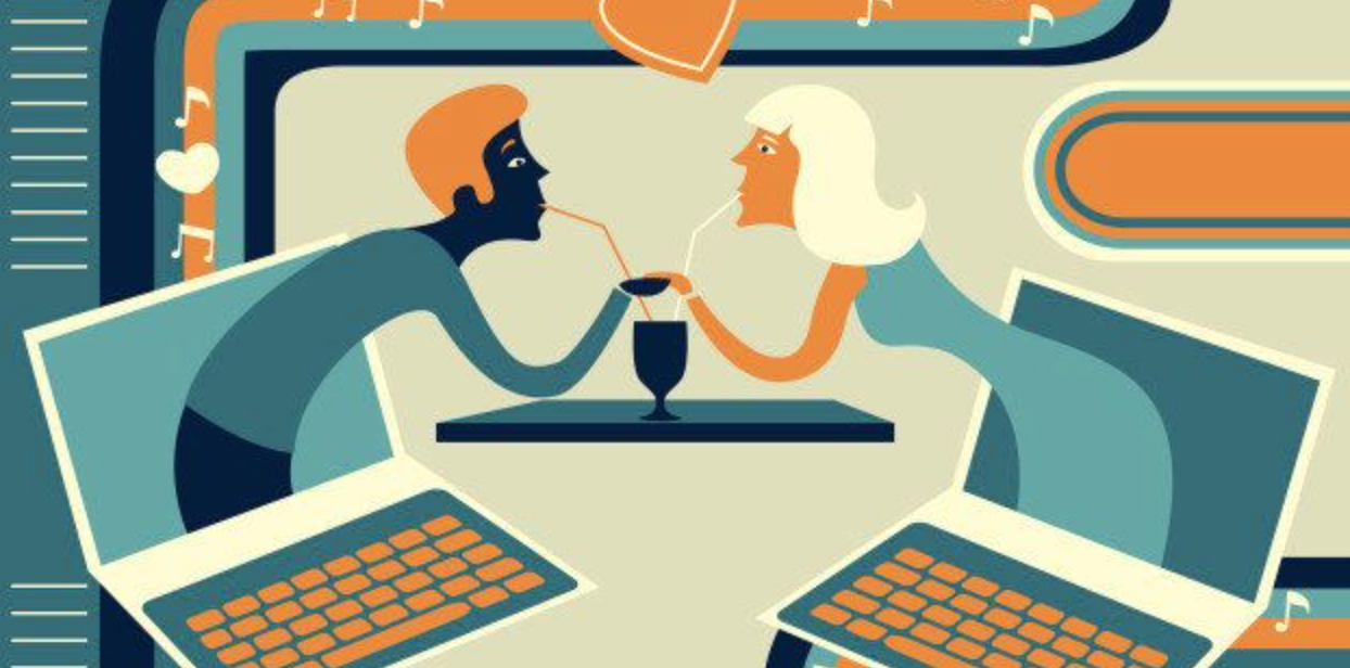 Illustration of couple dating over the internet.