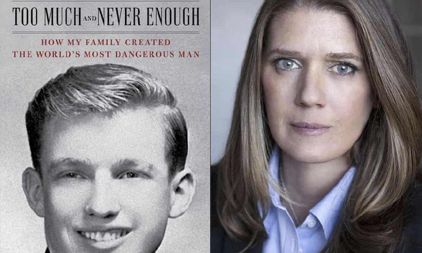 "The cover of the book, titled ""Too Much and Never Enough: How My Family Created the World's Most Dangerous Man"", and author Mary L Trump."