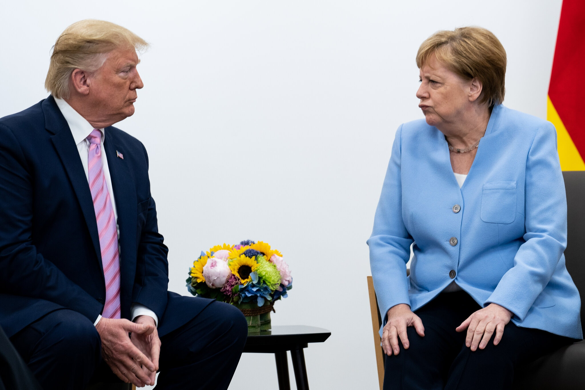 German chancellor Angela Merkel with former US President Donald Trump. President Trump strained relations between the US and Germany throughout his presidency (The New York Times/ Erin Schaff)