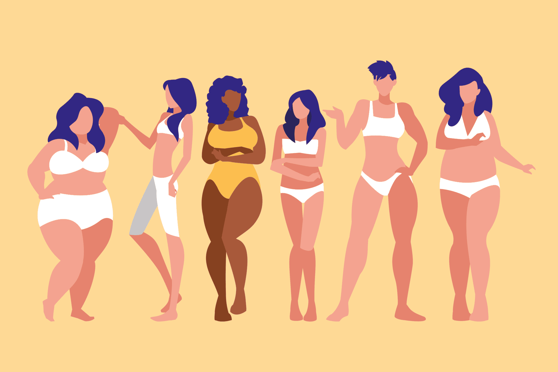 Illustration on women with different body types.