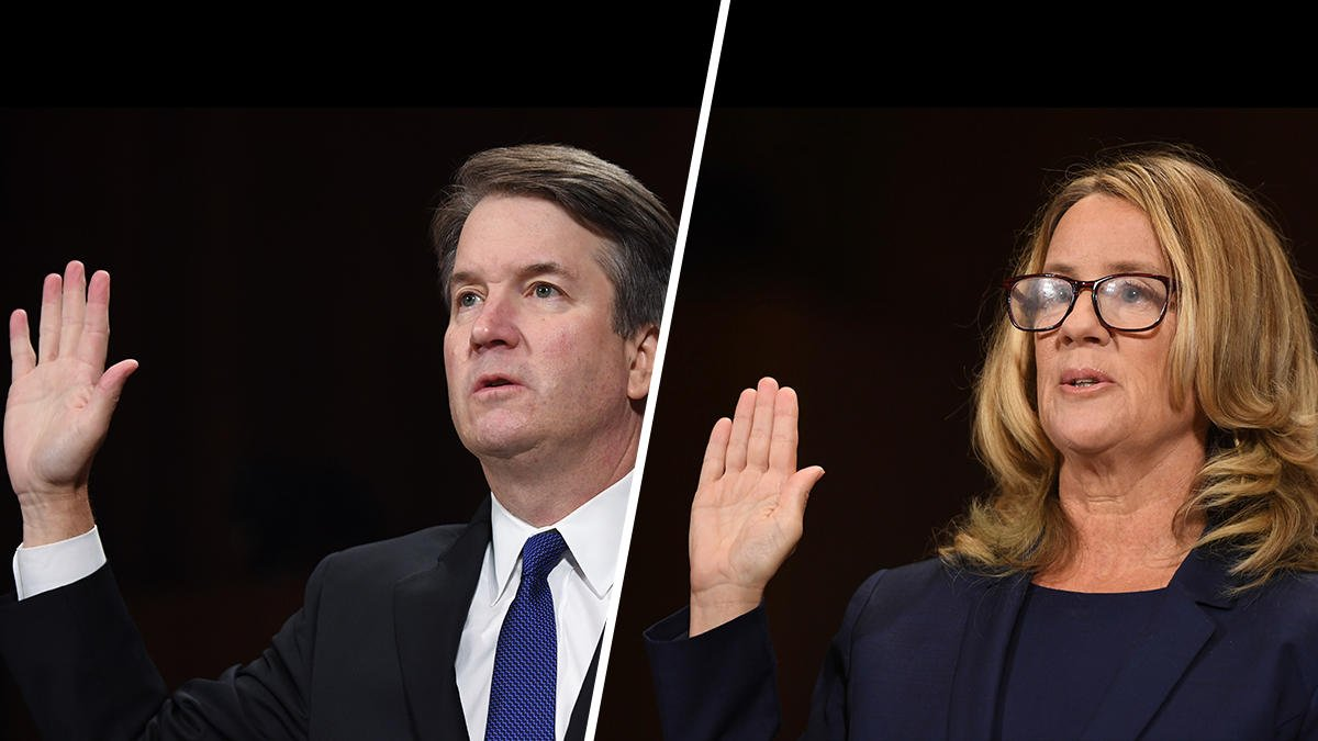 Brett Kavanaugh and Christine Blasey Ford being sworn in before testifying in front of the Judiciary Committee