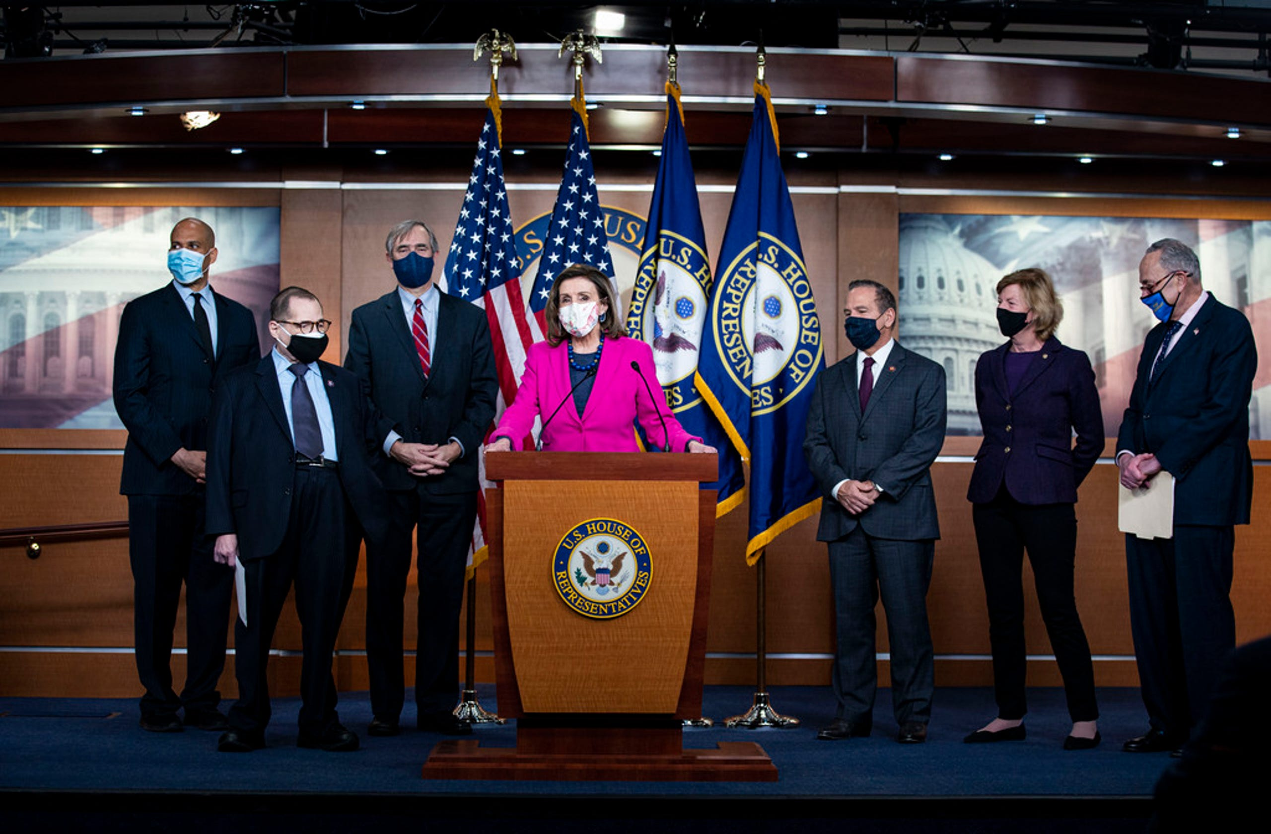 Speaker of the House Rep. Nancy Pelosi speaks during a news conference ahead of the House vote on the Equality Act on Capitol Hill on Feb. 25, 2021.
