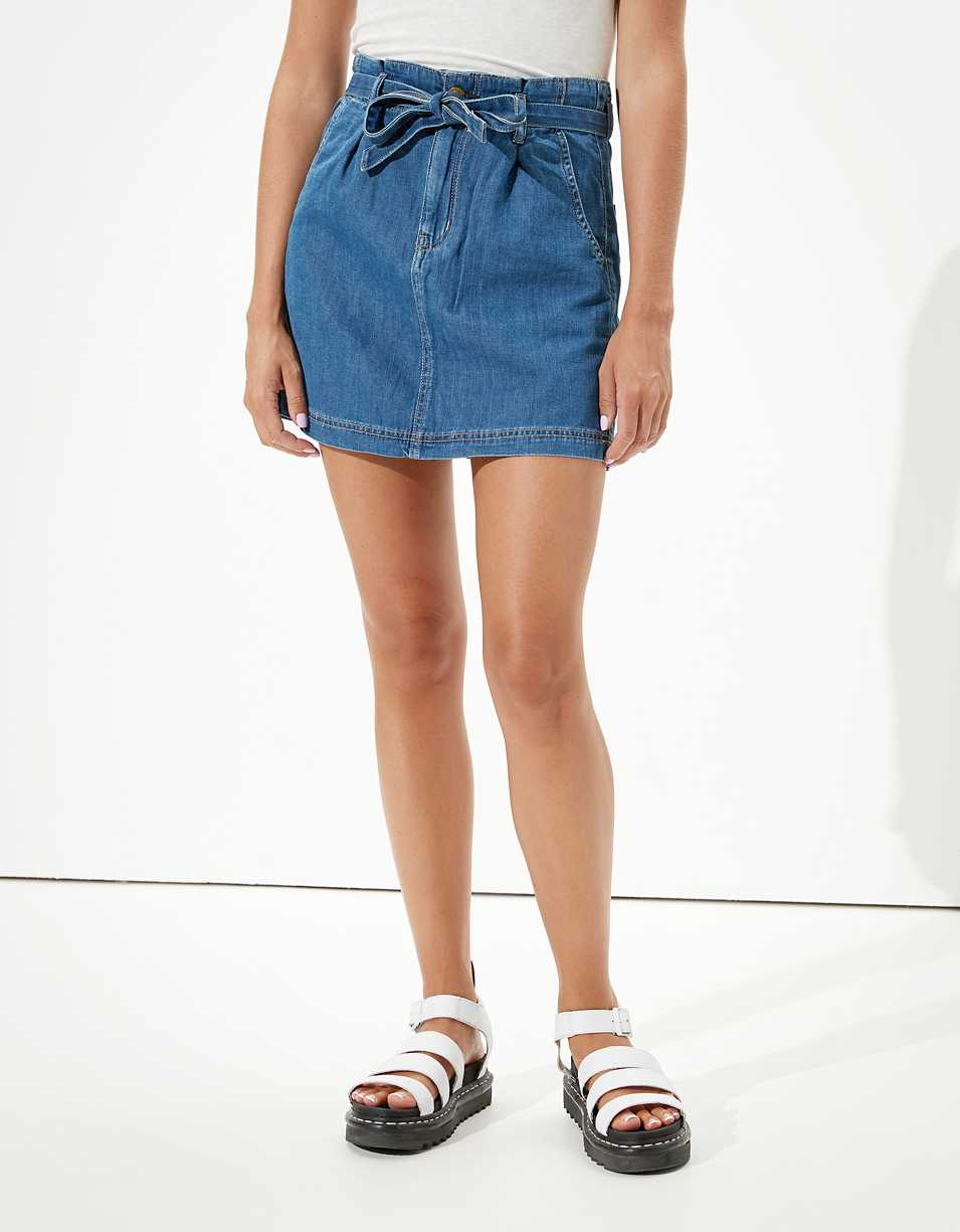 Super High-Waisted Denim A-Line Skirt. From American Eagle