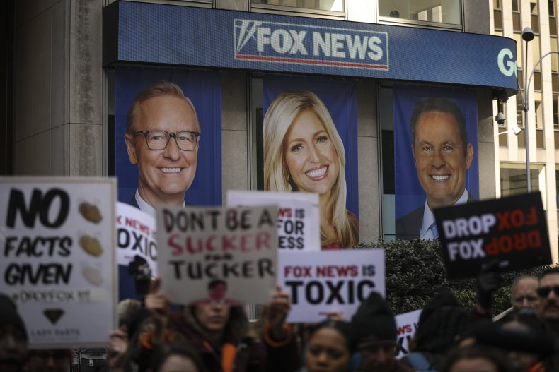 Protesters outside of the Fox News headquarters in New York City.