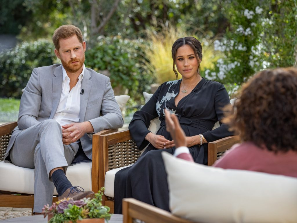 """Oprah with Meghan and Harry"" aired March 7, 2021. Credit: CBS"